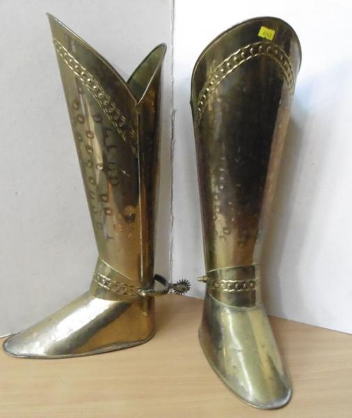 "Ornate brass boots with spurs 21"" in height"