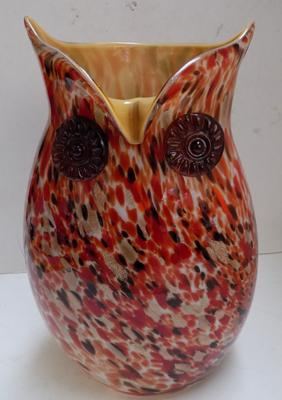 Vintage hand blown Murano glass owl vase