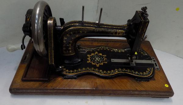 Early Victorian fiddle base sewing machine, with full Mother of Pearl inlaid to base c1886