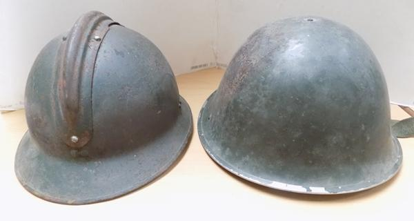 Italian helmet and French helmet