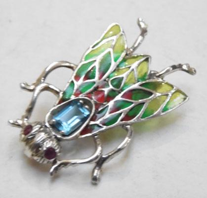 Silver bug brooch Ruby & Blue Topaz