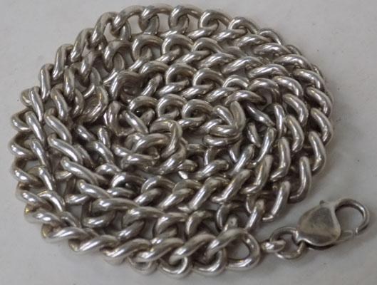 Solid silver Albert watch chain, length 56cm