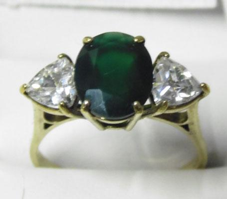 9ct Gold Agate trilogy ring