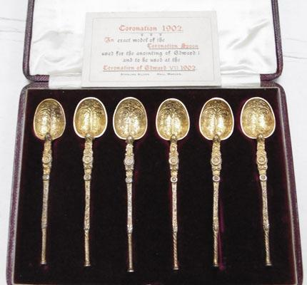 Boxed set of solid silver anointing spoons-exact model of Edward VII Coronation 1902