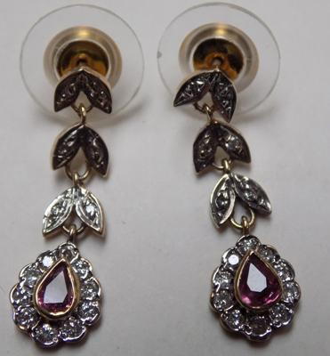 Pair of 9ct gold Ruby earrings