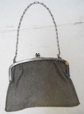 Heavy white metal flapper purse
