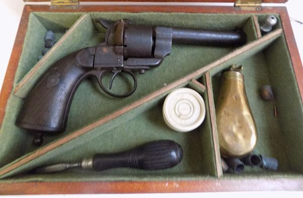 1855-1860 12mm pin fire 6 shot revolver in case with flask. 6 cases oil bottle turn screw percussion caps