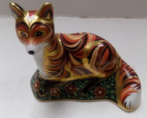 Royal Crown Derby fox cub paperweight with gold stopper, no box