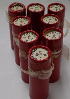 Collection of 8 full rolls of 1967 half penny coins - uncirculated