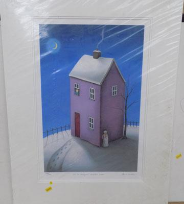 Signed mounted print by Paul Horton-On a Magical Winters eve 283/395 no certificate
