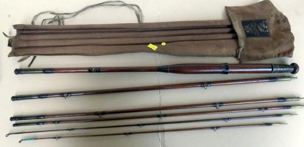 6 Piece 1910 Hardy 5 section cane fishing rod