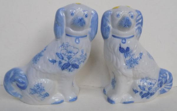 "Paul Blakeney blue & white Staffordshire Dogs. No damage found, approx 8"" high."