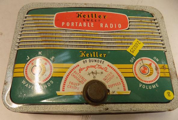 Rare collectors tin 1950's Keiller sweet tin in form of radio
