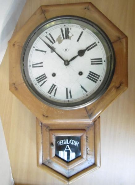 Early 20th century Regulator A wall clock, with chime & key. Damage to original face. w/o