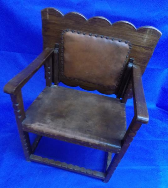 1920's Oak & leather 2in1 chair & table