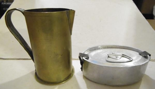 WWI German trench art small jug & 1914 mess tin