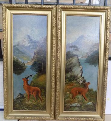 Pair of original oil paintings of Stags (one signed)