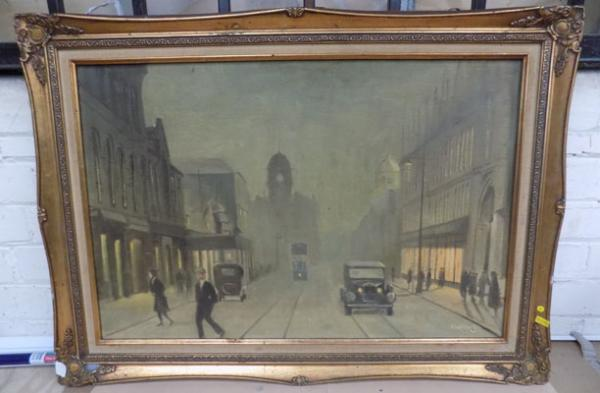 Oil painting Busby's Manningham Lane by H Hardwick