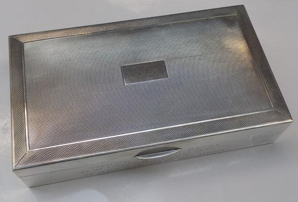 Solid silver box with wooden interior-Birmingham c1952