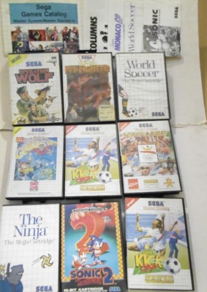 9x Sega master system games & spare instruction booklets
