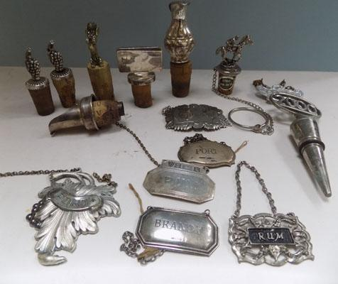 Selection of vintage decanter labels & stoppers inc silver