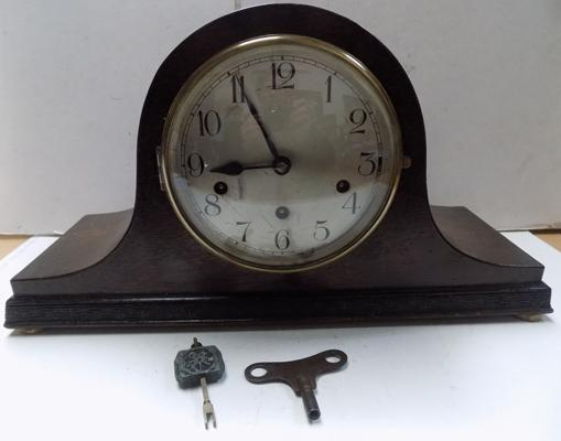 Haller Westminster 8 day mantel clock with key and pendulum in working order