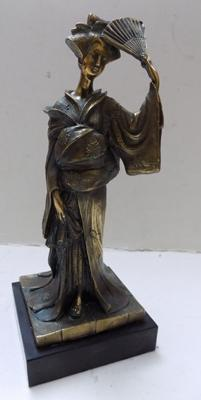 "Vintage Japanese Lady in brass, signed. 10.5"" high"