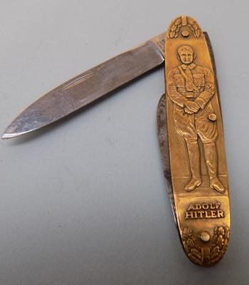 Unusual penknife-Adolf Hitler Deutschland Erwacht Swasticka themed dpittes reich German made