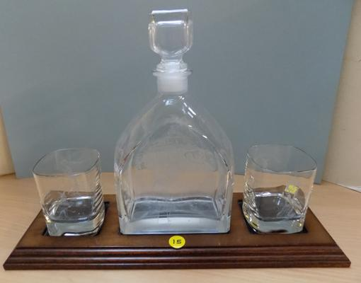 Decanter and glasses on plynth - engraved golfing scenes