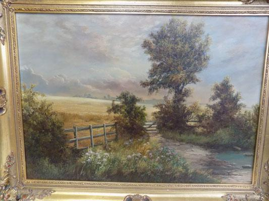 "Landscape original oil painting by Prudence Turner 24.5"" x 33""-damage to frame"