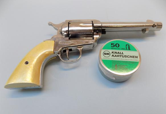 9mm Colt starter pistol with pearl handle & pellets