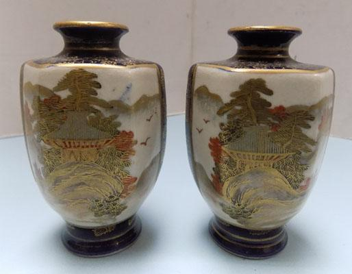 "Pair of 3 3/4"" Japanese garden scene vases"