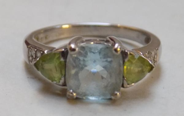White gold Citrine and Aquamarine ring - Size K 1/2