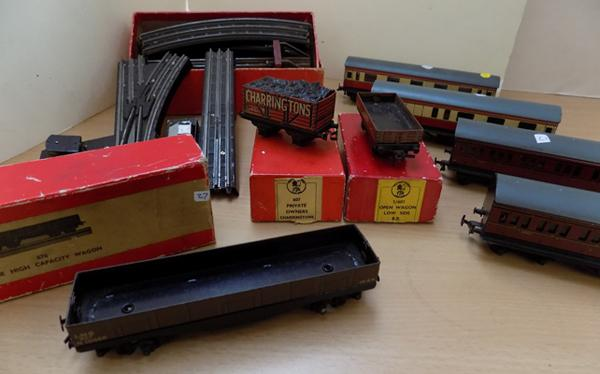 Selection of 'Twin-Trix' wagons and coaches, some boxed
