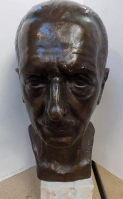 "1938 Josef Heu bronzed sculpted copper head size 16"" high"
