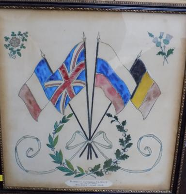 WWI Corporal FL White, art on bed sheet, made whilst injured