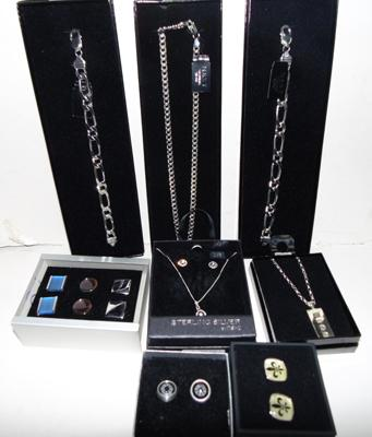 925 sterling silver, 2 bracelets, 3 chains, pair of earrings & 5 pairs of stainless steel cufflinks