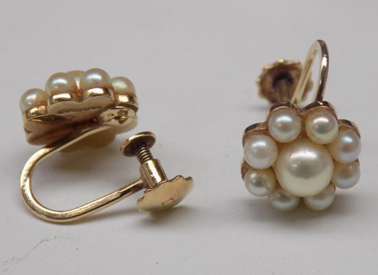 Pair of 9ct gold and real pearl earrings - screw back