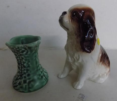 Sylvac King Charles Spaniel No4097 and miniature vase No 476