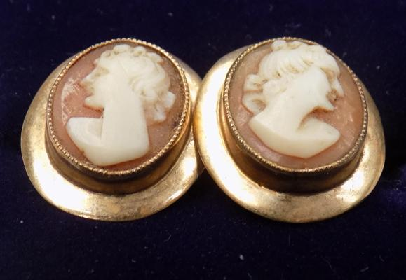 Pair of 9ct gold Cameo earrings