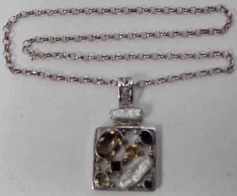 Large 925 silver multi gem stone pendant on belcher chain