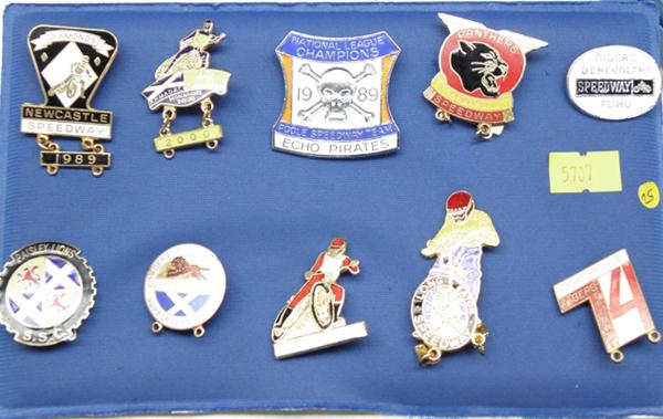 Collection of enameled Speedway badges, 1980s