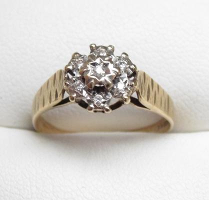 9ct gold diamond cluster ring, size N