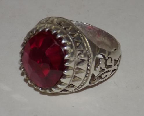 Silver Tibetan monk's ring with ruby