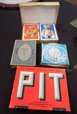 3 Vintage playing card sets and a game called Pit