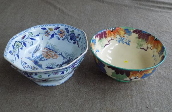 Royal Doulton bowl Gloria pattern, Dartmouth pottery - slight damage to both