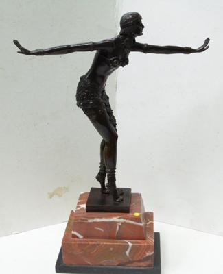 Deco style bronze lady on orange & black marble base with factory stamp & signed, 52cm tall