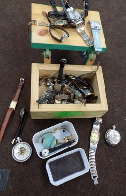Selection of watches in wooden box