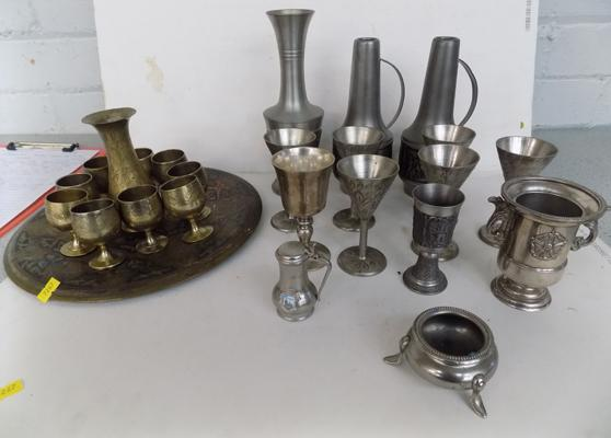 Selection of metalware inc oriental tray & cups