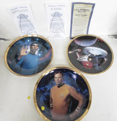 Set of three limited edition Star Trek plates